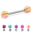 Titanium straight barbell with wave balls, 14 ga