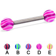 Titanium straight barbell with wave balls, 12 ga