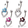 Jeweled flower and heart belly button ring