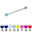 Acrylic ball with stone long barbell (industrial barbell), 12ga