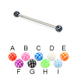 Long barbell (industrial barbell) with checkered balls, 12 ga