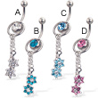 2-in-1 belly button ring with slide-off ring and two flowers on dangles