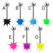 Neon koosh ball tongue barbell, 14 ga
