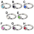 Captive bead ring with jeweled ball, 12 ga