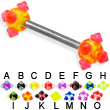 Acrylic Viking Ball Titanium Straight Barbell, 12 Ga