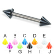 Beach cone titanium straight barbell, 12 ga