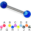 Marble ball titanium straight barbell, 12 ga