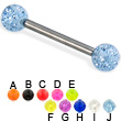 Glitter ball titanium straight barbell, 12 ga