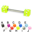 Titanium straight barbell with dice, 14 ga