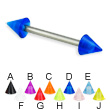 UV cone titanium straight barbell, 14 ga