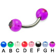 Titanium curved barbell with acrylic jeweled balls, 14 ga