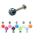 Checkered ball titanium labret, 14 ga