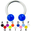 UV ball titanium circular barbell, 14 ga