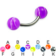 Titanium curved barbell with marble balls, 14 ga