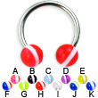 Striped ball titanium circular barbell, 14 ga