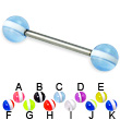 Striped ball titanium straight barbell, 14 ga