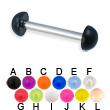 Acrylic half ball straight barbell, 12 ga