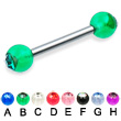 Straight barbell with acrylic jeweled balls, 12 ga