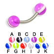 Curved barbell with striped balls, 14 ga