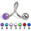 Spiral barbell with hologram balls, 14 ga