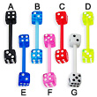 Flexible acrylic dice tongue ring, 14 ga