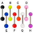 Acrylic tongue barbell, 14 ga