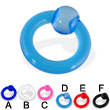 Transparent acrylic captive bead ring, 6 ga