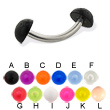 Acrylic half ball curved barbell, 14 ga