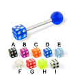 Acrylic die and ball straight barbell, 14 ga