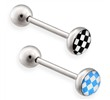 Checkered Logo tongue ring, 14 ga