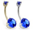 14K Gold double jeweled Sapphire belly ring