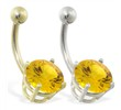 14K Gold belly ring with large 8mm Citrine