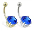 14K Gold belly ring with large 8mm Sapphire