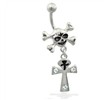 Skull Belly Ring with Dangling Ankh