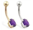 14K Gold belly ring with small amethyst oval