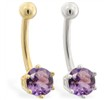 14K yellow gold belly button ring with 6-prong Alexandrite