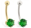 14K yellow gold belly button ring with 6-prong Emerald