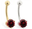 14K yellow gold belly button ring with 6-prong Garnet