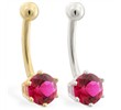 14K yellow gold belly button ring with 6-prong Ruby