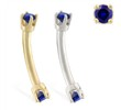 14K Gold internally threaded curved barbell with Sapphire gems