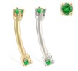 14K Gold internally threaded curved barbell with Emerald gems