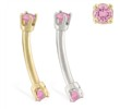 14K Gold internally threaded curved barbell with pink tourmaline gems