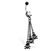 Jeweled black coated belly ring with skull dangles