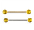 14K Gold Nipple Ring with Bezel Setting Citrine Gems, 14 Ga