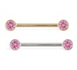 14K Gold Nipple Ring with Bezel Setting Pink Tourmaline Gem, 14 Ga