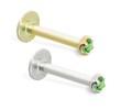 14K Gold internally threaded labret with 1.5mm Peridot, 16ga