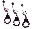 Jeweled belly button ring with dangling black coated jeweled handcuff