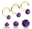 14K Gold Nose Screw With Round Amethyst