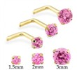 14K Gold L-shape nose pin with Round Pink Tourmaline