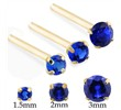 14K Gold Long Customizable Nose Stud with Round Sapphire